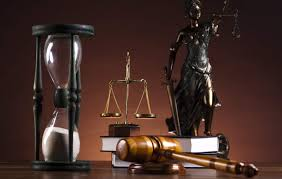 hourglass, gavel, weighing scale and lady justice for statue of lady justice for California Proposition 8 and family law lawyers bakersfield ca
