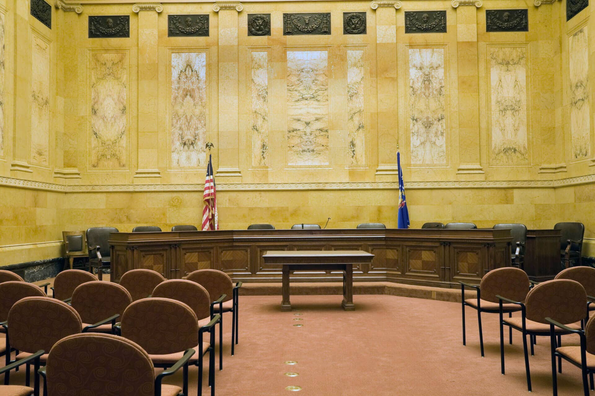 trial court room used for hearings and trials about kern county family law attorneys